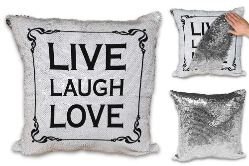 Live Laugh Love Sequin Reveal Magic Cushion Cover